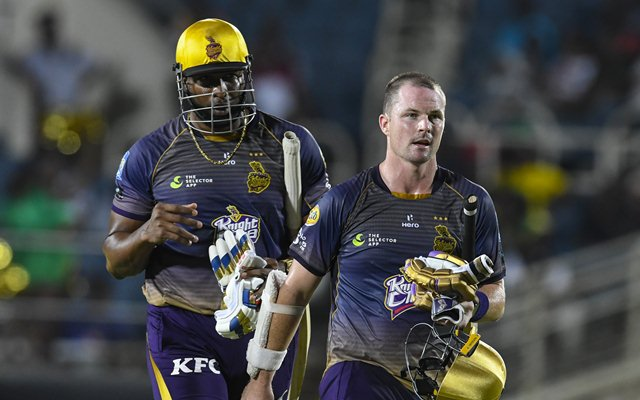 Kieron Pollard and Colin Munro of Trinbago Knight Riders