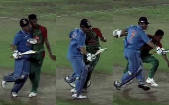 Dhoni's Collision with Mustafizur Rahman
