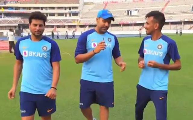 Kuldeep Yadav, Rohit Sharma and Yuzvendra Chahal