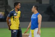 R Sai Kishore and MS Dhoni