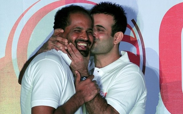 Irfan Pathan kisses his brother Yusuf Pathan