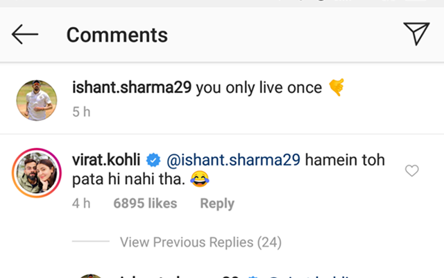 Virat Kohli trolls Ishant Sharma on Instagram