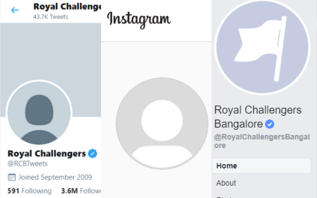 RCB removed display pictures and all of their posts from social media platforms.