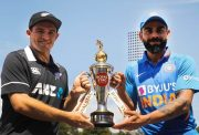 Tom Latham and Virat Kohli