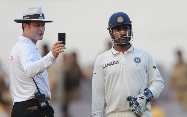 Simon Taufel and MS Dhoni