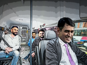 MS-Dhoni Driving bus