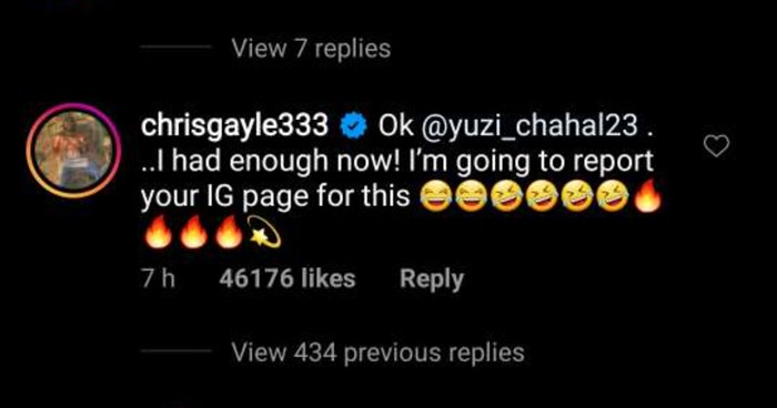 Chris Gayle's comment